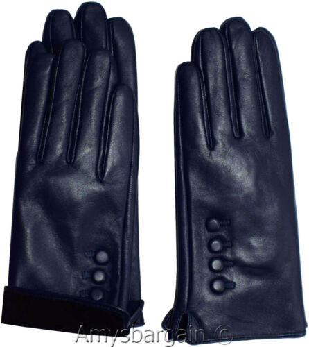 M Leather gloves Genuine leather women's Blue winter gloves S L and XL Br New*