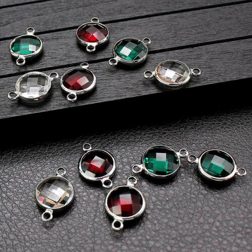 10PC Double Hole Round Faceted Glass Crystal Beads DIY Charm Earring Connector