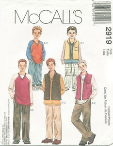 McCALLS 7547 Boys//Girls Vest T-Shirt Top Pants Shorts Hat PATTERNS 2-3-4-5-6-7-8