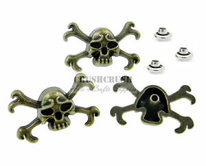 10Sets-Antique-Brass-Skull-and-Crossbones-Rivet-Leather-Concho-Decoration-RV071
