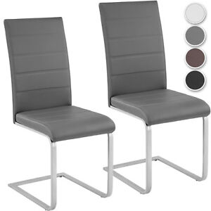Set of 2 Modern Cantilever Dining Chairs Room Chair Table Faux Leather Furniture