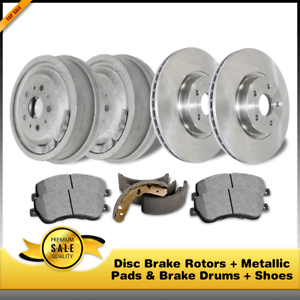 Metallic Pads /& Brake Drums Shoes For Chevrolet HHR Disc Brake Rotors