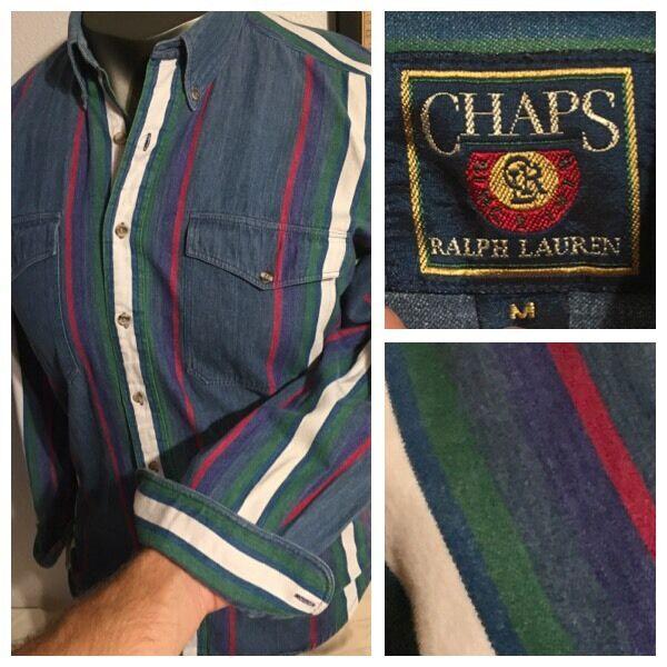 90's Chaps Ralph Lauren denim 91 92 93 Stadium Striped Button Front Shirt Sz M