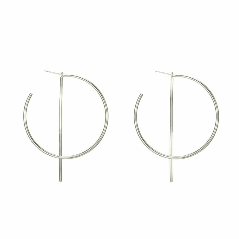 Front Back Big Hoop Circle With Bar Geometric Punk Style Silver Color Earrings