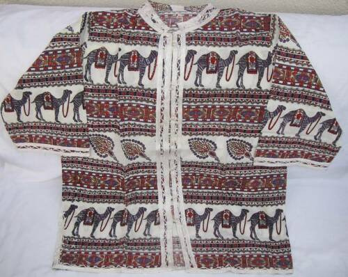 Egyptian Cotton X-Large Camel Jacket White Long Sleeve Handmade Embroidery XL