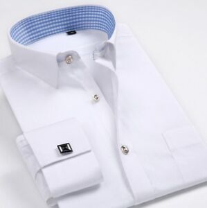 Men-039-s-Dress-Shirts-Long-Sleeves-French-Cuff-Formal-Slim-Casual-Business-Shirts