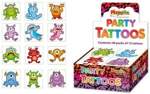 72-Monster-Tattoos-6-Packs-Of-12-Pinata-Toy-Loot-Party-Bag-Fillers-Kids