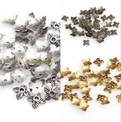 100pcs Rétro Argent//Doré//Bronze Tone Leaf Bead Caps 6 mm LIVRAISON GRATUITE