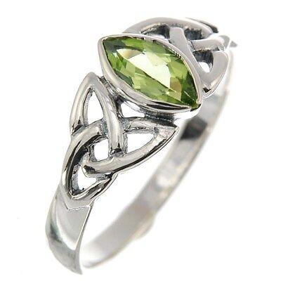 Celtic Trinity Knot Silver Ring, Mix US Size, set w Peridot Stone, r369