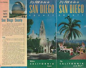 san diego county california vintage 1951 travel brochure color