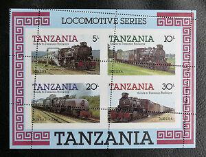 TIMBRES-TRAINS-TANZANIE-1985-BOLC-FEUILLET-N-41-TRES-BEAU-PIQUAGE-A-CHEVAL