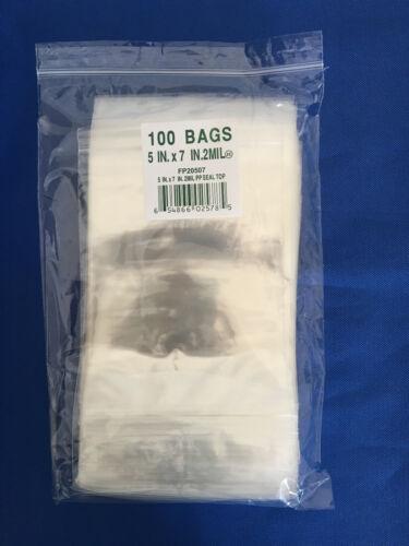 100 5x7 LK Plastics Cello Reclosable Polypropylene Ziplock Hang Hole Bags 2Mil