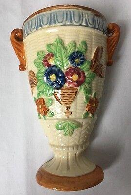 """Vintage Wicker Look Urn Wall Pocket Vase w Flowers Made In Japan 6.5"""""""