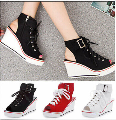 Women Canvas MID Wedge Heels Open Toe Lace Up Slingback Sneaker Sport Sandal HOT