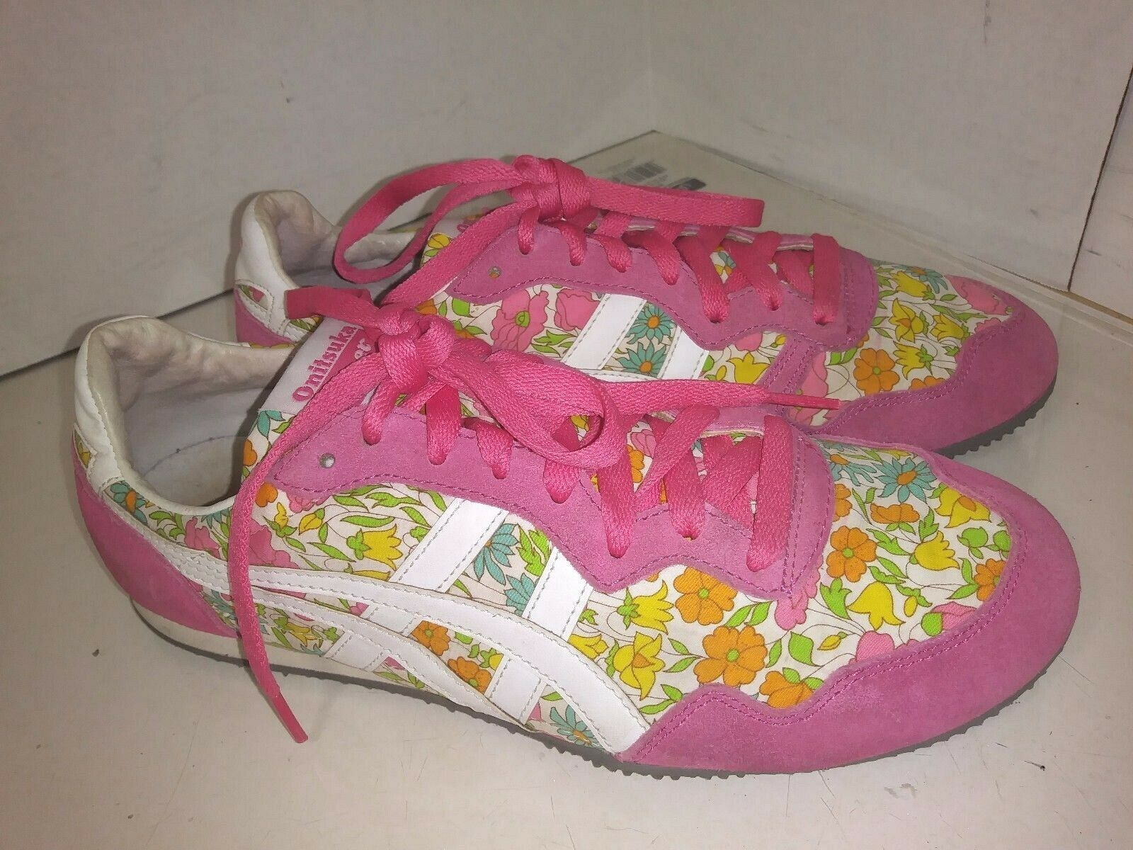 Asics Serrano Pink Flower sneakers Womens Size 9  D2P6N