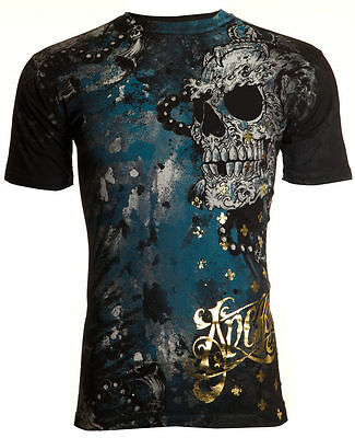 Archaic AFFLICTION Mens T-Shirt HYDRATE Skulls Tattoo Biker MMA UFC S-4XL $40