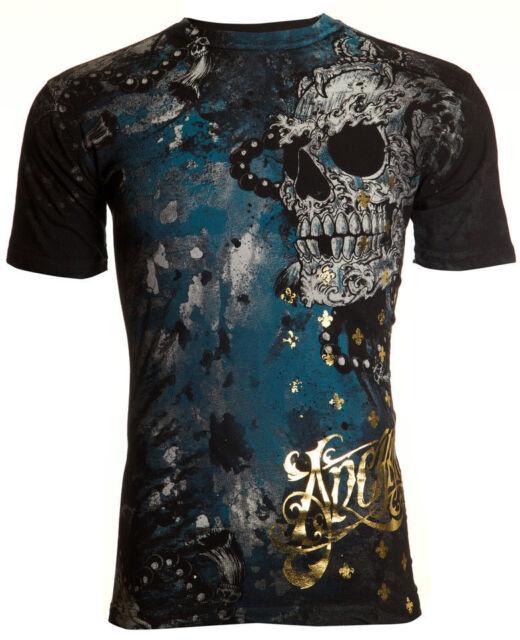 Archaic AFFLICTION Mens T-Shirt HYDRATE Skulls Tattoo Biker MMA UFC S-4XL $40