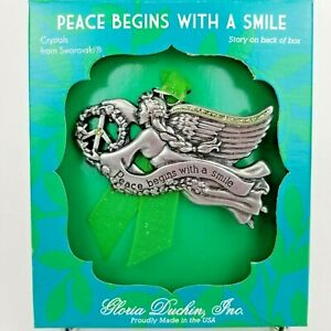 Gloria-Duchin-Angel-Ornament-Swarovski-Crystals-Pewter-Peace-Begins-With-A-Smile
