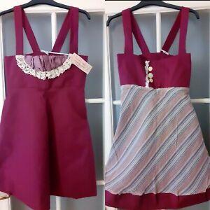 Leanne-Marshall-Designer-Mini-Dress-reversible-Plum-vintage-XS-NEW-with-Tags
