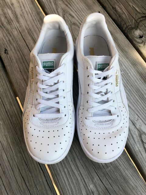 sports shoes 22d1a 9f29e Puma GV Special Retro Sneakers Leather White Gold Youth/ Mens 5.5 - Womens  7.5