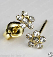 Studex Gold Earrings Tiny Tips Hypoallergenic Clear Crystal 5mm Daisy Clear Ctr