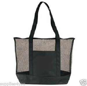 Black Mesh Zippered Tote Large Shopping Bag Purse Sports Beach ...