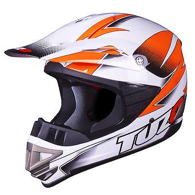 Tuzo MX3 Adult Motocross MX Enduro ATV Quad Crash Helmet White-Orange Medium