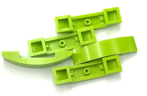 Lego 5 New Lime Slopes Sloped Curved 4 x 1 Double No Studs Pieces