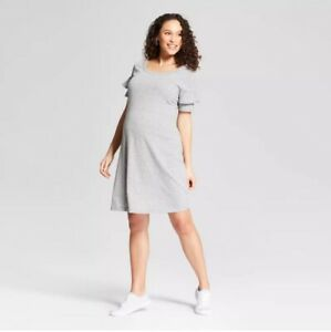 Ingrid-amp-Isabel-Maternity-Dress-NEW-Sz-Medium-Jersey-Knit-Ruffle-Sleeve-Gray