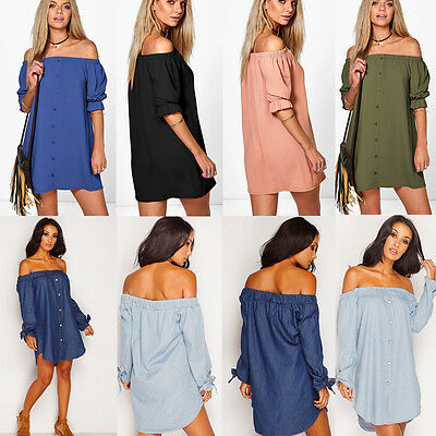 Oversized Sexy Womens Off the Shoulder Casual Short Mini Loose Shirt Dress New