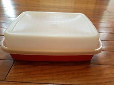 Tupperware Small Marinade Meat Keeper Container w/ Lid 1518 & 1519 Paprika Red
