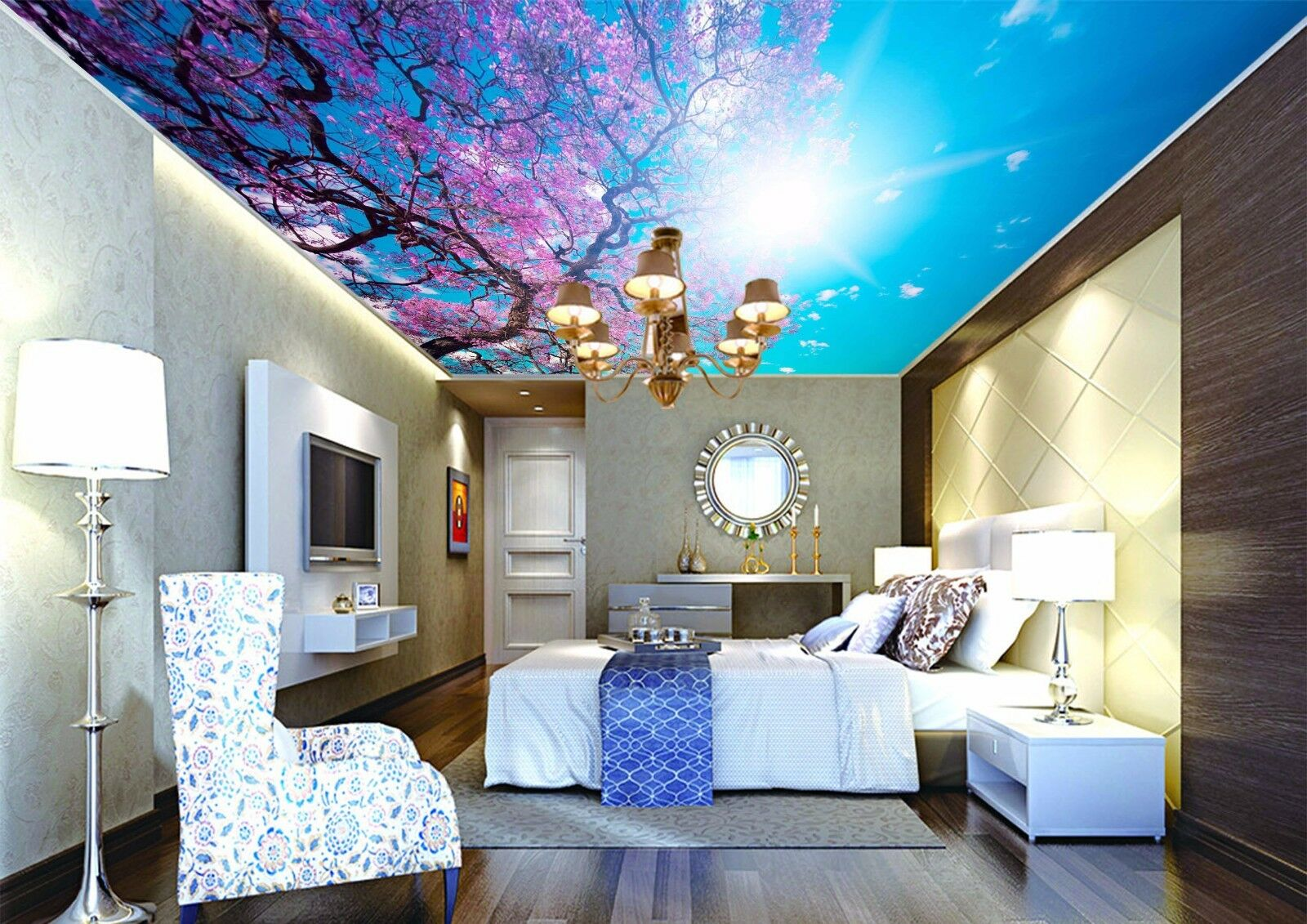 3D Sun Sky Tree 5 Ceiling WallPaper Murals Wall Print Decal Deco AJ WALLPAPER UK