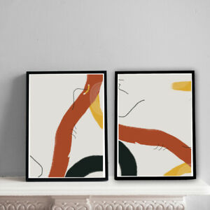 Home-Prints-A4-Abstract-Warm-Mustard-amp-Brown-Pattern-Gift-Wall-Art-NO-FRAME