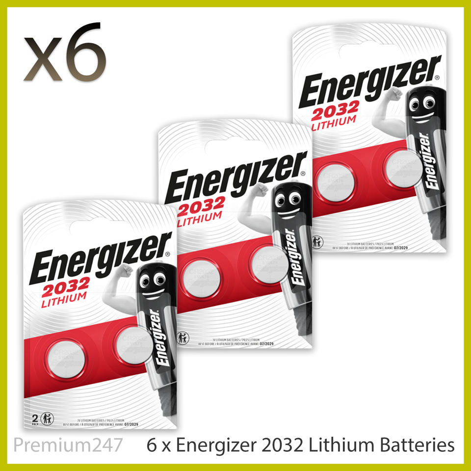 6 x Energizer CR2032 3V Lithium Coin Cell Battery 2032 Pack of 6 DL2032 BR2032