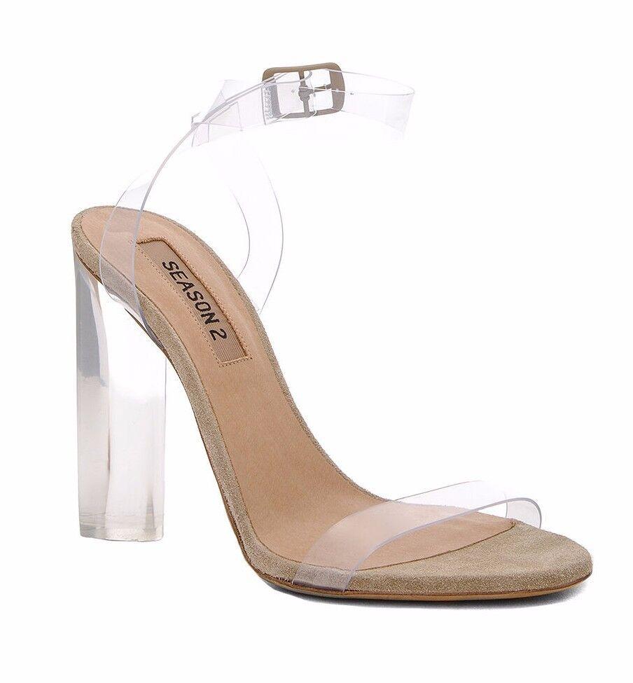Yeezy Season 2 Lucite PVC Plexi Clear Transparent Sandals Sandals Sandals Heels Größe 38.5 3a16f5