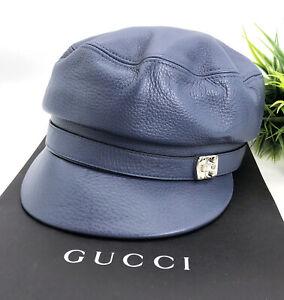 Gucci-Authentic-Blue-Leather-GG-Logo-Buckle-Cabbie-Newsboy-Cap-Hat-US-Medium