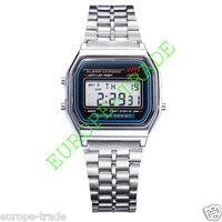Classic Silver Metal Watch Fashion Vintage Digital Display Retro LCD Style 80s
