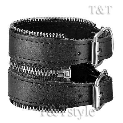 TTstyle Punk Zipper Black Leather Bracelet Wristband