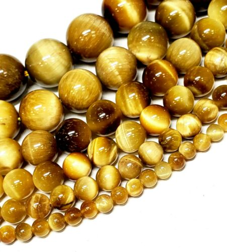 "Tiger Eye Polished Round Beads Blue,Green,Gold.Teal 15/""-15.5/"""