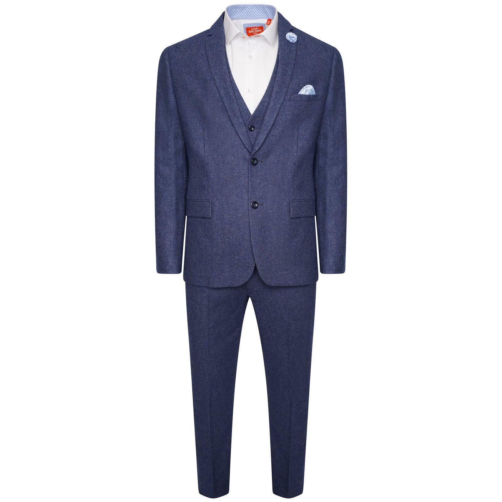 Harry Brown Three Piece Slim Fit Wool Suit in bluee