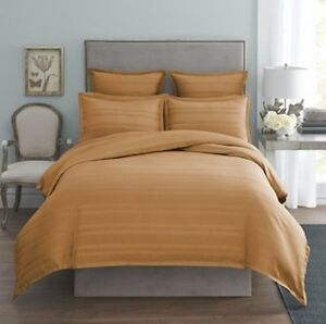 MODERN-LIVING-Arezzo-Damask-Stripe-TWIN-DUVET-COVER-Soft-Gold-Cotton-NWT