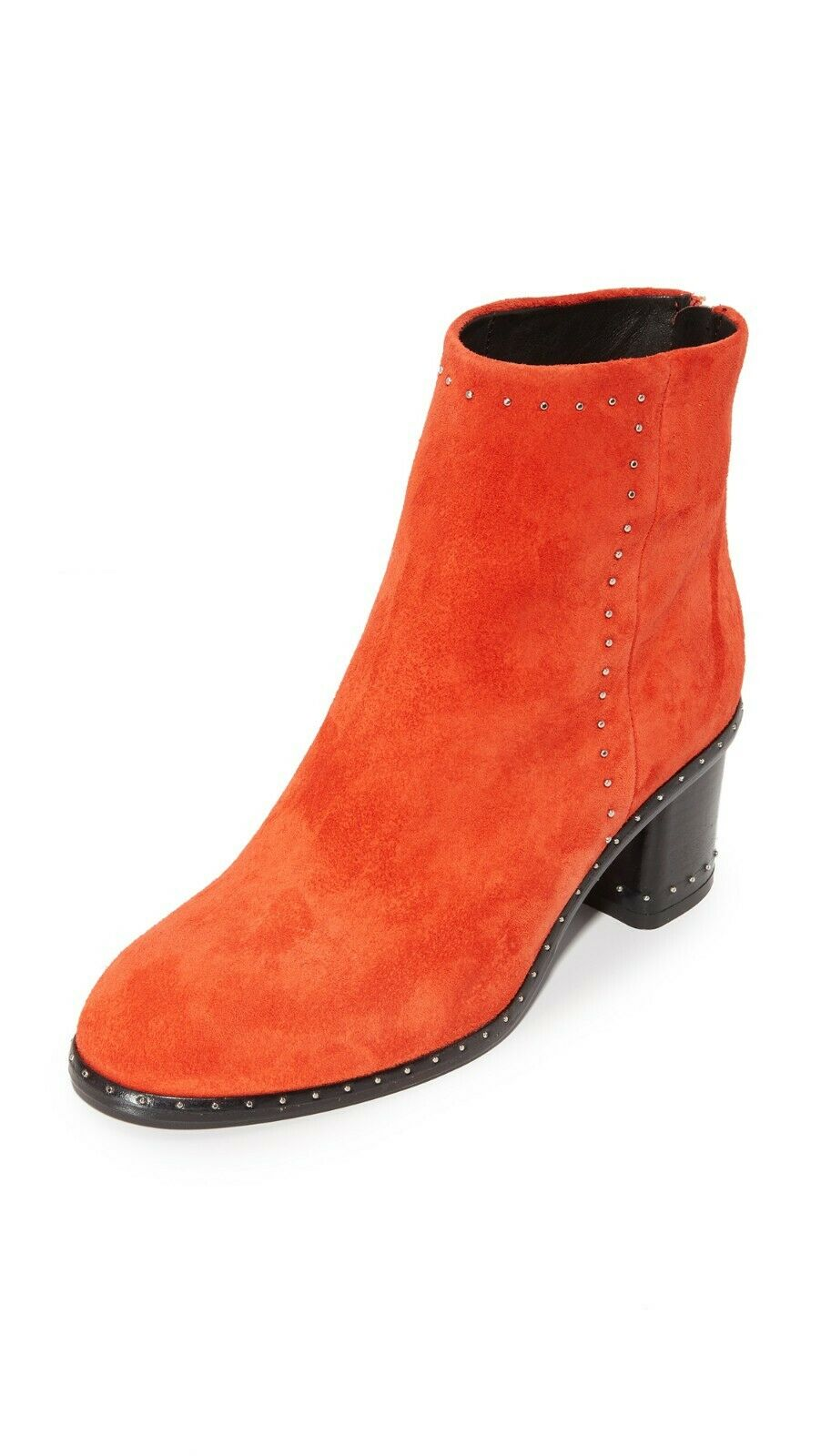 NIB RAG&BONE RED SUEDE WILLOW STUDDED BACK ZIP ANKLE BOOTS 36.5 US 6.5 ITALY