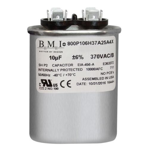 BMI Oval Run Capacitor 10 uf MFD 370 volt vac 50//60 hz replaces GE CAP011003O