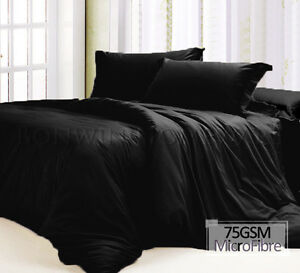 SB-DB-QB-KB-KSB-75gsm-Microfiber-Fitted-Flat-Sheet-Pillowcase-Sham-Set-in-BLACK