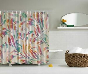 Image Is Loading Pink Purple Blue Paisley Design Fabric Shower Curtain