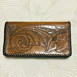 Vintage-Tooled-Leather-Checkbook-Cover-1970-039-s-Floral-Brown
