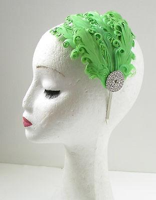 Green & Silver Vintage Feather Headpiece 1920s Headband Flapper Great Gatsby W44