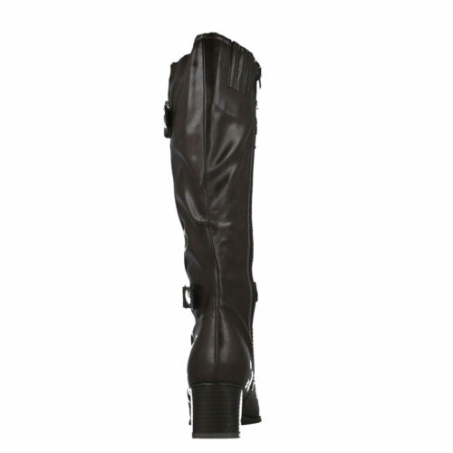 £9.99 LADIES SPOT ON ZIP UP HEELED CASUAL LONG KNEE LENGTH BOOTS LB733 SIZE 5