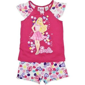 NEW-BARBIE-GIRLS-SUMMER-PINK-PJ-PYJAMAS-SET-SIZE-3-4-5-6-7