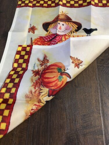 "Scarecrow Garden Flag Leaves Fall Autumn 12.5/"" x 18/"" NWOT"
